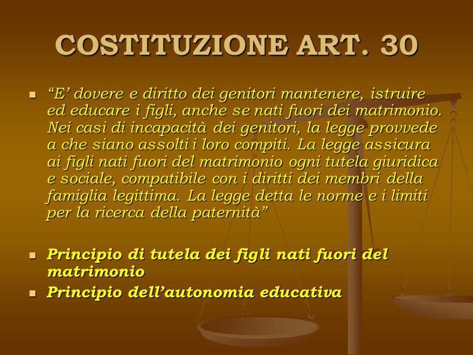 COSTITUZIONE ART. 30 E dovere e diritto dei genitori mantenere, istruire ed educare i figli, anche se nati fuori dei matrimonio. Nei casi di incapacit