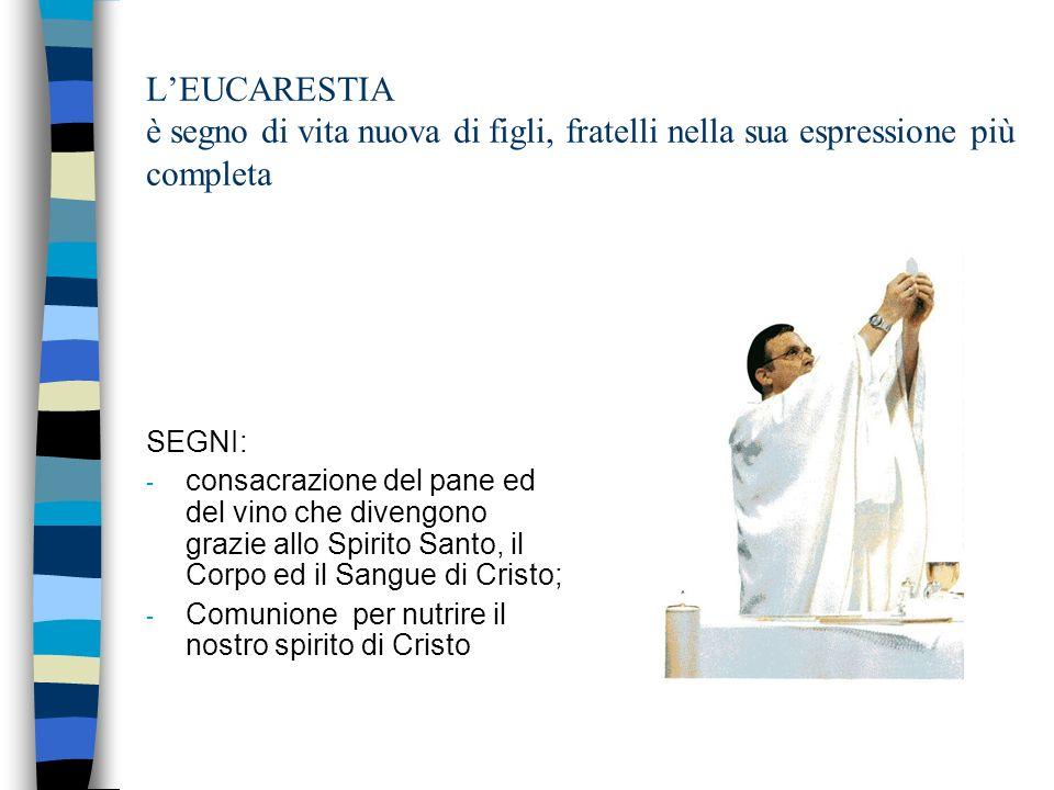 LEUCARESTIA è segno di vita nuova di figli, fratelli nella sua espressione più completa SEGNI: - consacrazione del pane ed del vino che divengono grazie allo Spirito Santo, il Corpo ed il Sangue di Cristo; - Comunione per nutrire il nostro spirito di Cristo