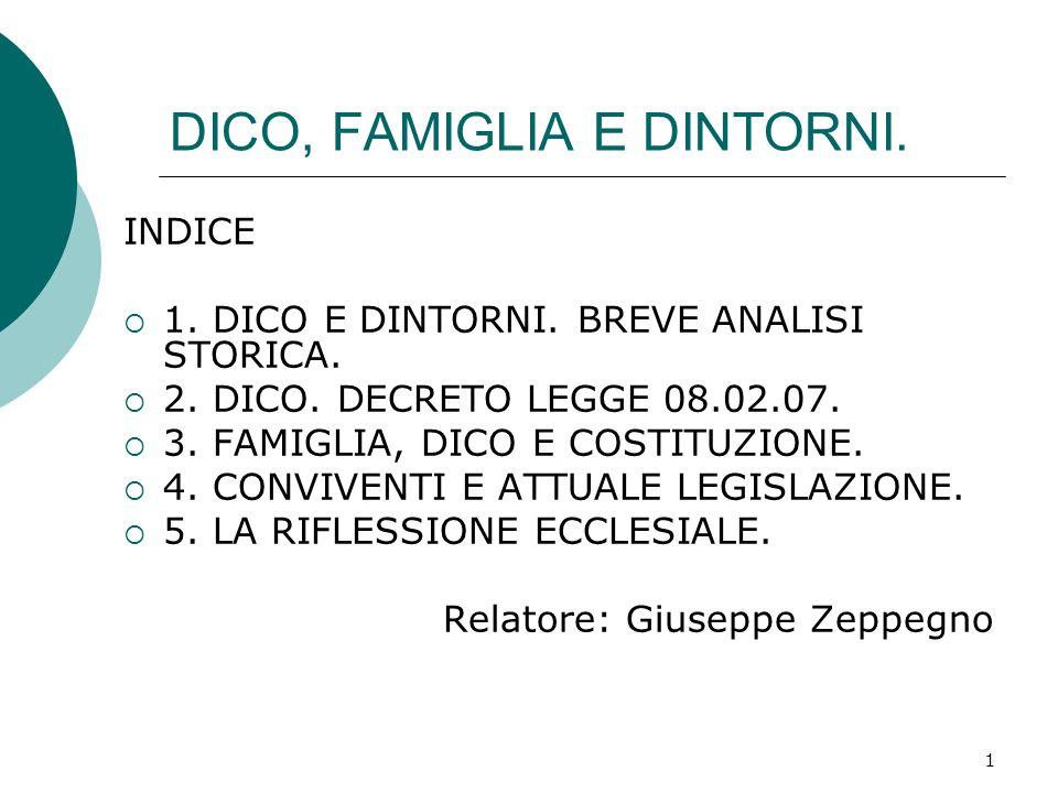 1 DICO, FAMIGLIA E DINTORNI. INDICE 1. DICO E DINTORNI. BREVE ANALISI STORICA. 2. DICO. DECRETO LEGGE 08.02.07. 3. FAMIGLIA, DICO E COSTITUZIONE. 4. C