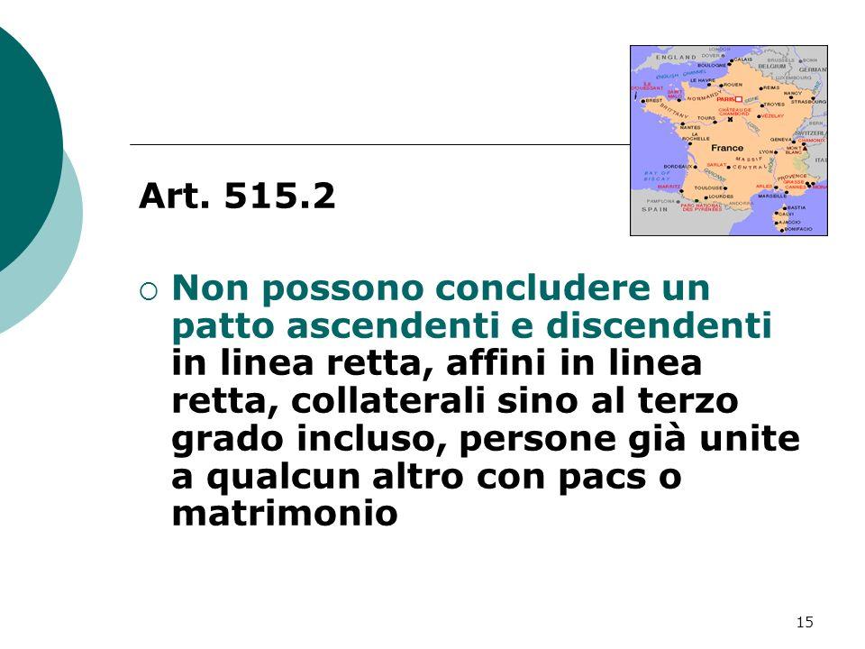 15 Art. 515.2 Non possono concludere un patto ascendenti e discendenti in linea retta, affini in linea retta, collaterali sino al terzo grado incluso,