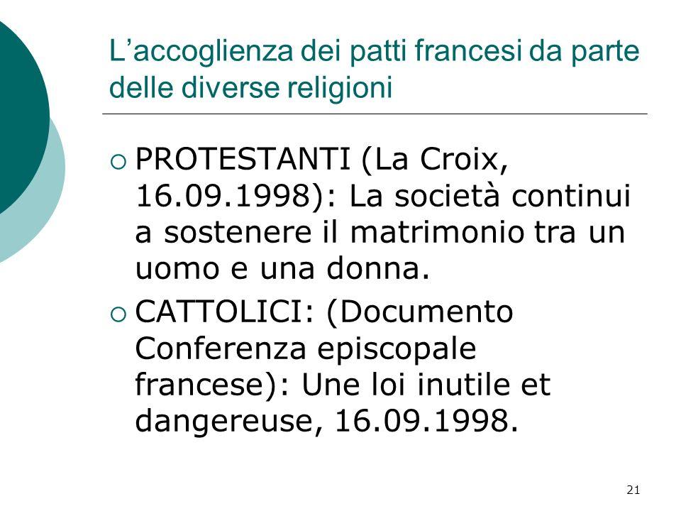 21 Laccoglienza dei patti francesi da parte delle diverse religioni PROTESTANTI (La Croix, 16.09.1998): La società continui a sostenere il matrimonio