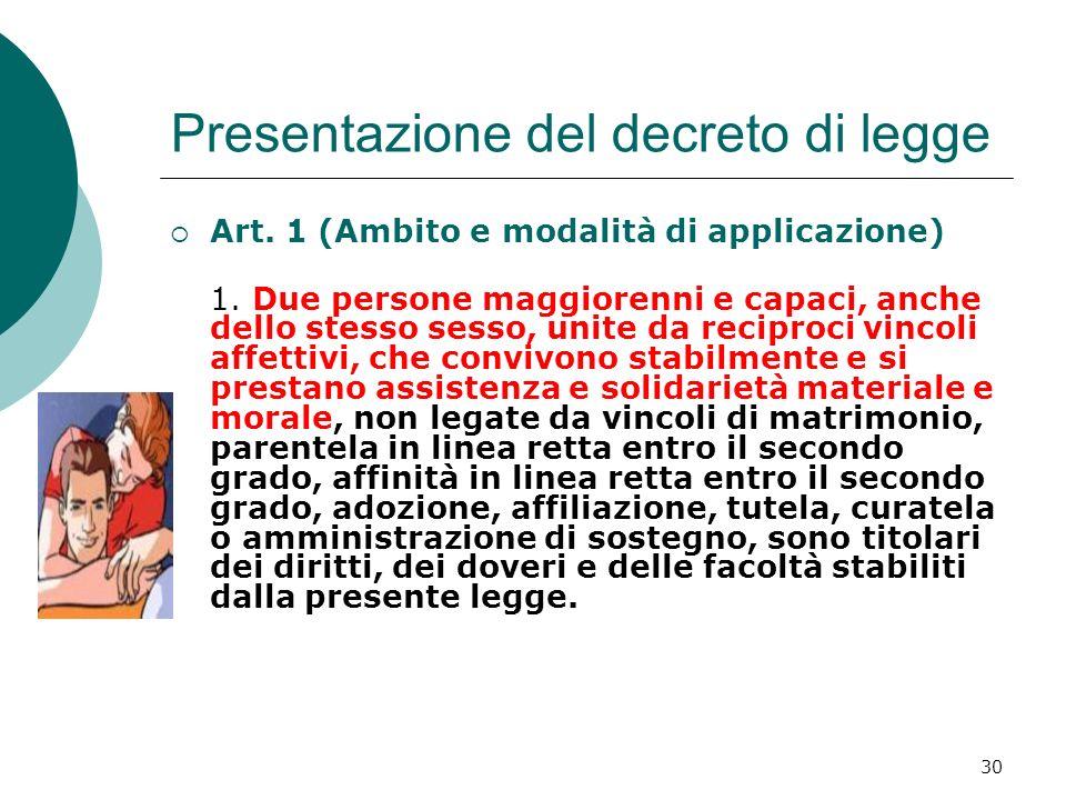 30 Presentazione del decreto di legge Art. 1 (Ambito e modalità di applicazione) 1. Due persone maggiorenni e capaci, anche dello stesso sesso, unite
