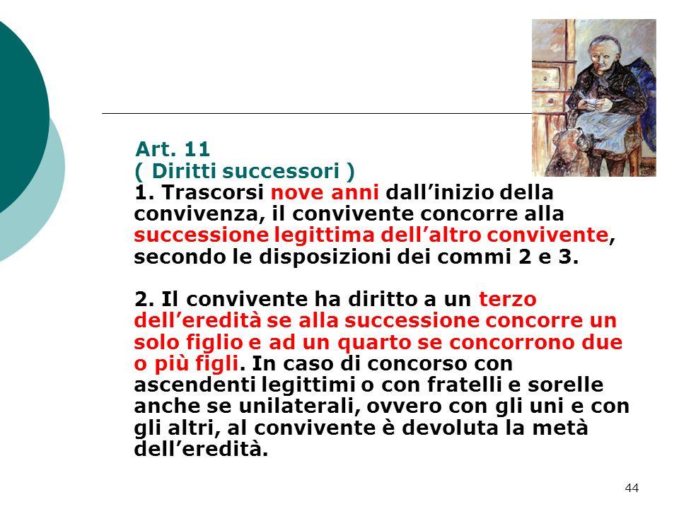 44 Art. 11 ( Diritti successori ) 1. Trascorsi nove anni dallinizio della convivenza, il convivente concorre alla successione legittima dellaltro conv