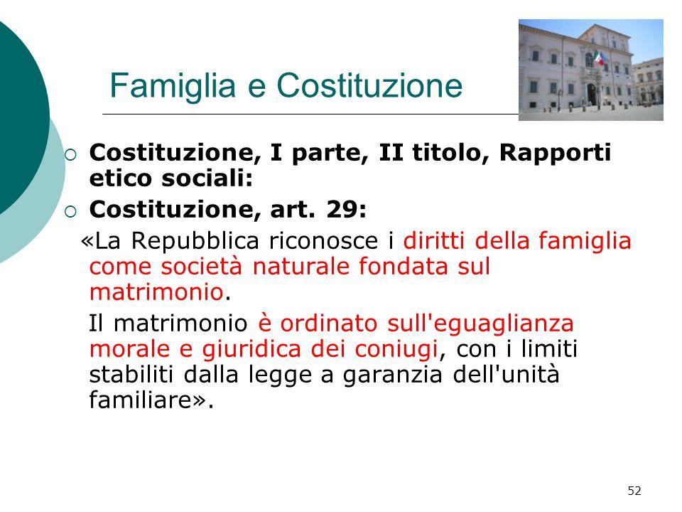 52 Famiglia e Costituzione Costituzione, I parte, II titolo, Rapporti etico sociali: Costituzione, art. 29: «La Repubblica riconosce i diritti della f