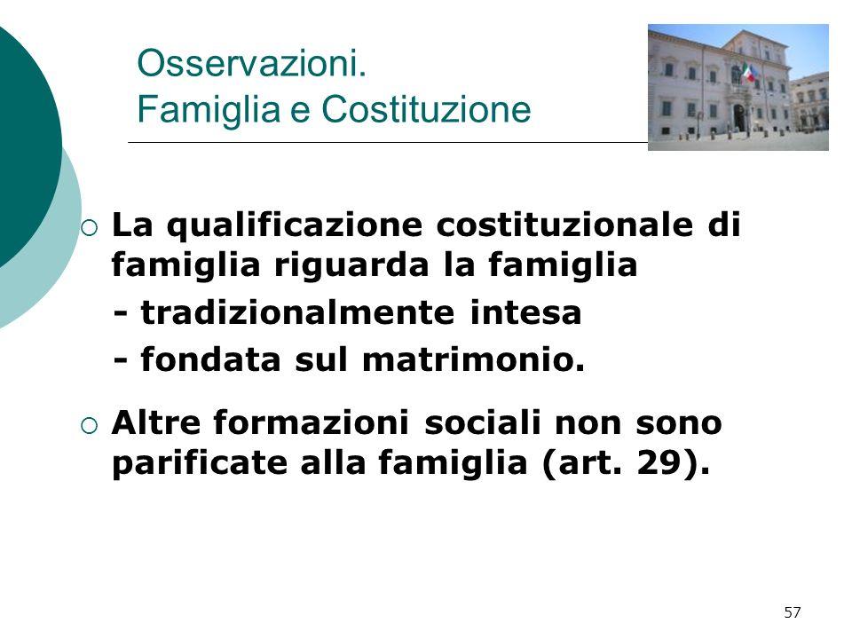 57 Osservazioni. Famiglia e Costituzione La qualificazione costituzionale di famiglia riguarda la famiglia - tradizionalmente intesa - fondata sul mat