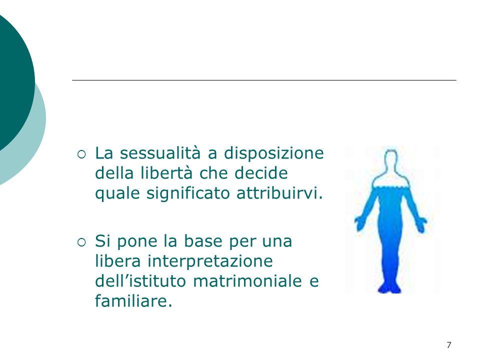 7 La sessualità a disposizione della libertà che decide quale significato attribuirvi. Si pone la base per una libera interpretazione dellistituto mat
