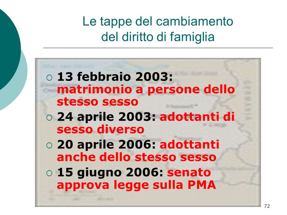 72 Le tappe del cambiamento del diritto di famiglia 13 febbraio 2003: matrimonio a persone dello stesso sesso 24 aprile 2003: adottanti di sesso diver