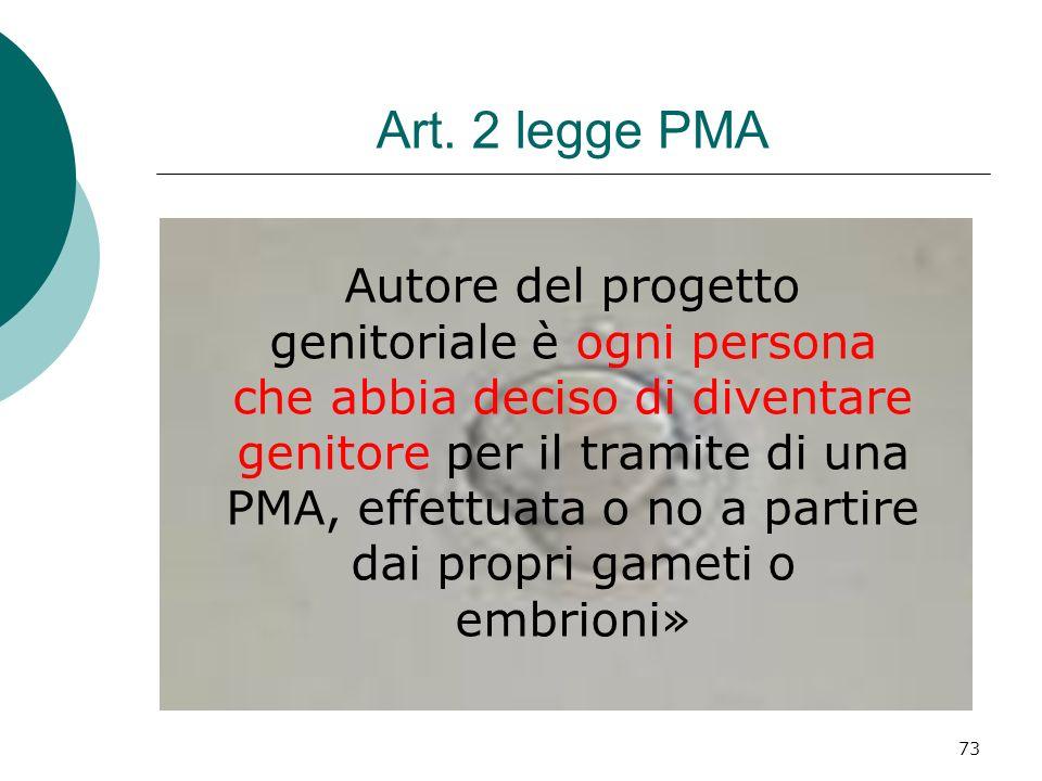 73 Art. 2 legge PMA Autore del progetto genitoriale è ogni persona che abbia deciso di diventare genitore per il tramite di una PMA, effettuata o no a