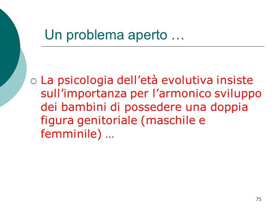 75 La psicologia delletà evolutiva insiste sullimportanza per larmonico sviluppo dei bambini di possedere una doppia figura genitoriale (maschile e fe