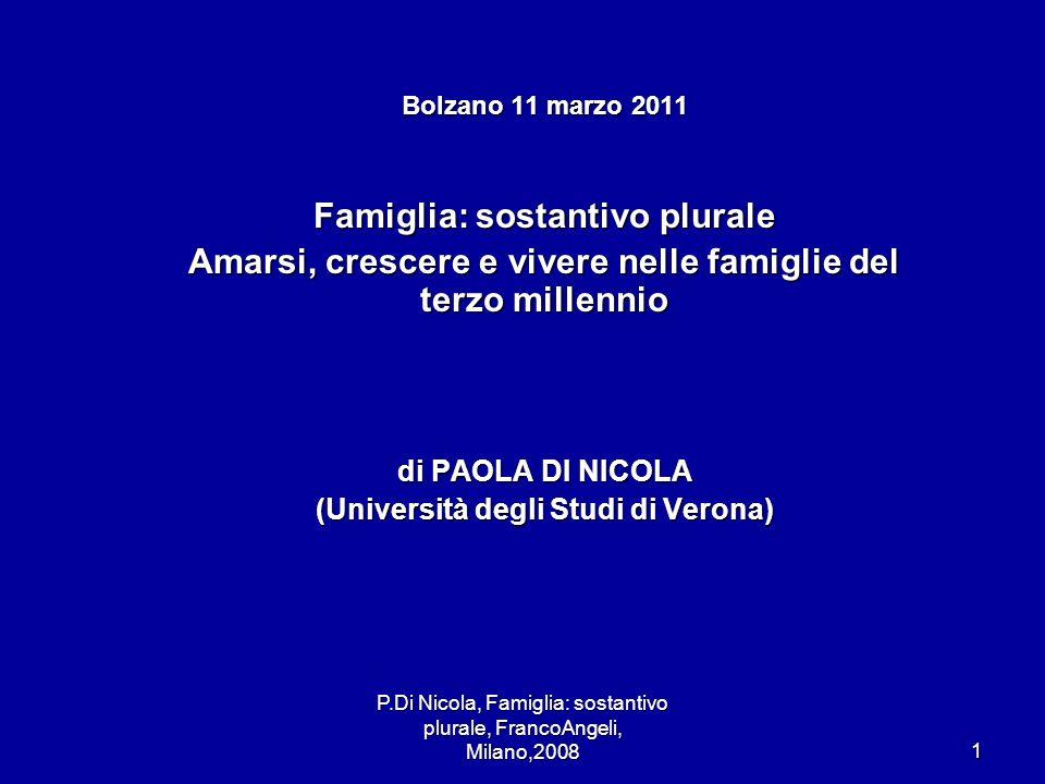 P.Di Nicola, Famiglia: sostantivo plurale, FrancoAngeli, Milano,20081 Bolzano 11 marzo 2011 Famiglia: sostantivo plurale Amarsi, crescere e vivere nel