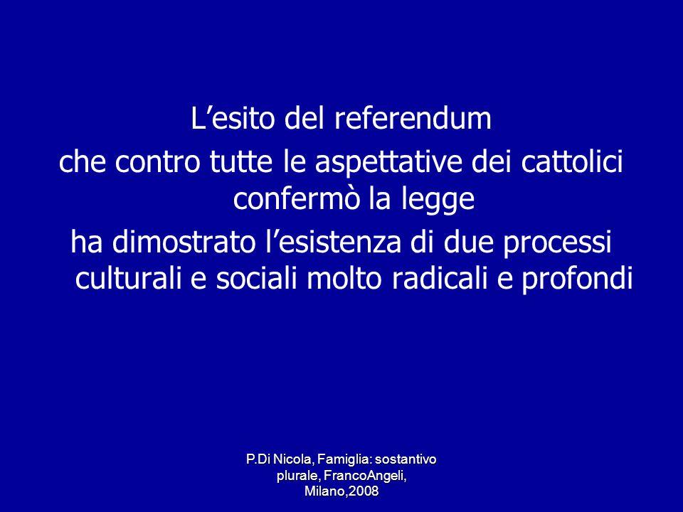 P.Di Nicola, Famiglia: sostantivo plurale, FrancoAngeli, Milano,2008 Lesito del referendum che contro tutte le aspettative dei cattolici confermò la l