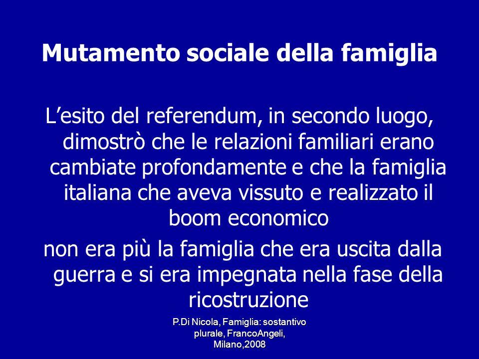 P.Di Nicola, Famiglia: sostantivo plurale, FrancoAngeli, Milano,2008 Mutamento sociale della famiglia Lesito del referendum, in secondo luogo, dimostr