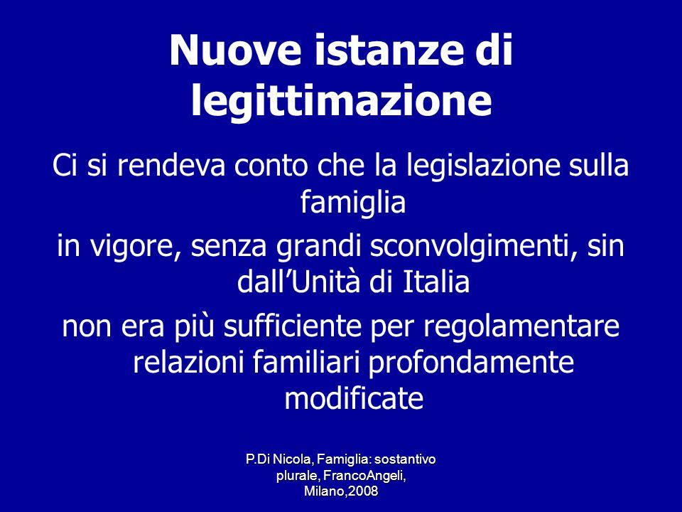 P.Di Nicola, Famiglia: sostantivo plurale, FrancoAngeli, Milano,2008 Nuove istanze di legittimazione Ci si rendeva conto che la legislazione sulla fam