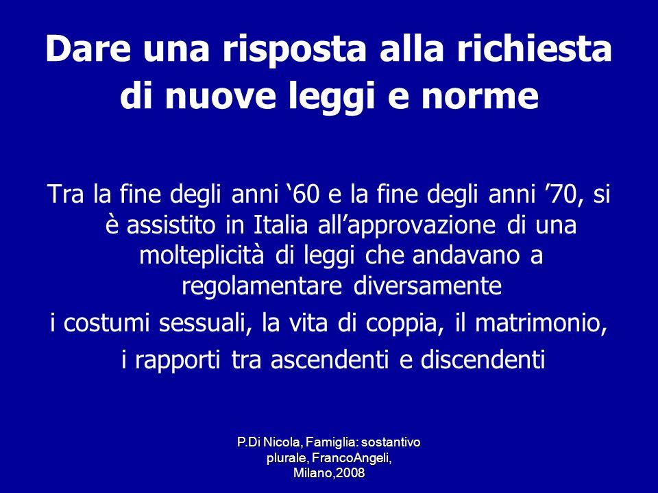 P.Di Nicola, Famiglia: sostantivo plurale, FrancoAngeli, Milano,2008 Dare una risposta alla richiesta di nuove leggi e norme Tra la fine degli anni 60