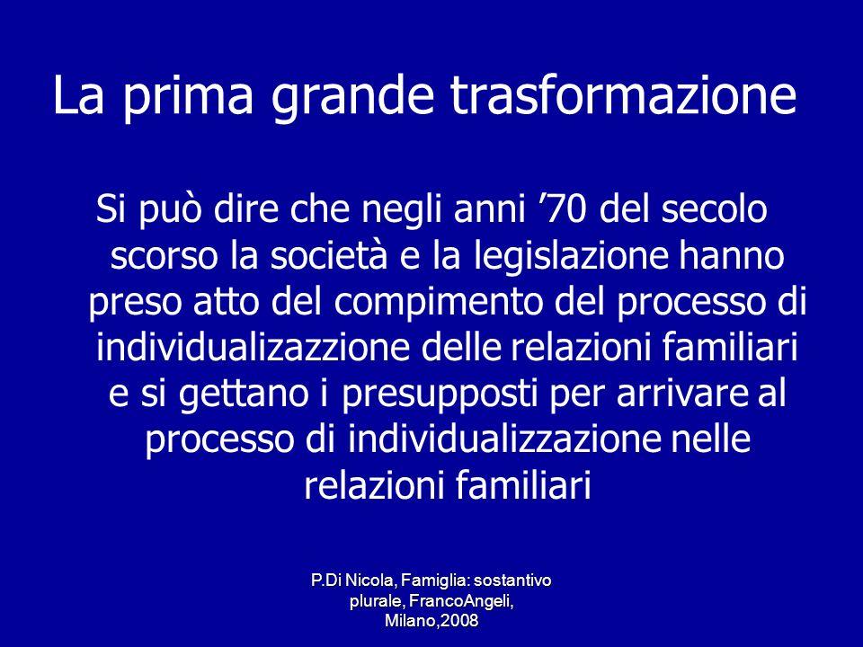 P.Di Nicola, Famiglia: sostantivo plurale, FrancoAngeli, Milano,2008 La prima grande trasformazione Si può dire che negli anni 70 del secolo scorso la