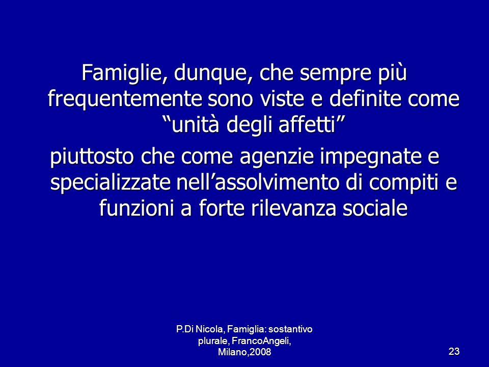 P.Di Nicola, Famiglia: sostantivo plurale, FrancoAngeli, Milano,200823 Famiglie, dunque, che sempre più frequentemente sono viste e definite come unit