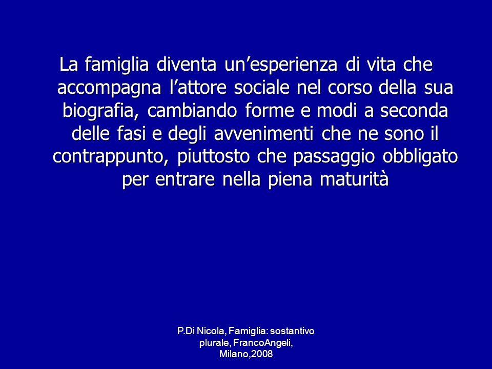 P.Di Nicola, Famiglia: sostantivo plurale, FrancoAngeli, Milano,2008 La famiglia diventa unesperienza di vita che accompagna lattore sociale nel corso