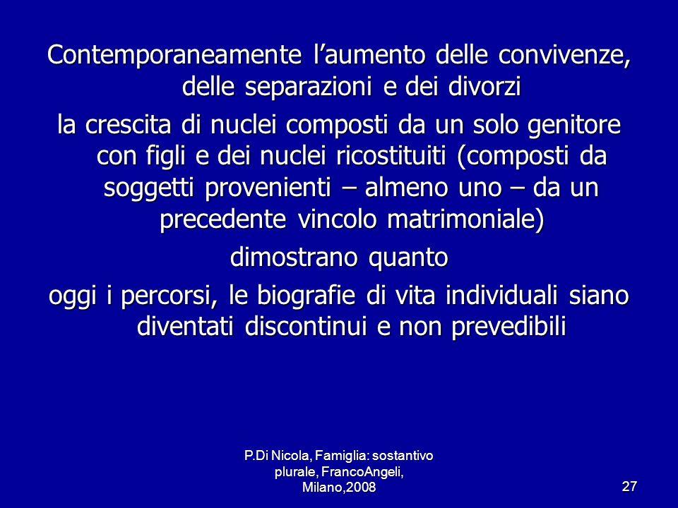 P.Di Nicola, Famiglia: sostantivo plurale, FrancoAngeli, Milano,200827 Contemporaneamente laumento delle convivenze, delle separazioni e dei divorzi l
