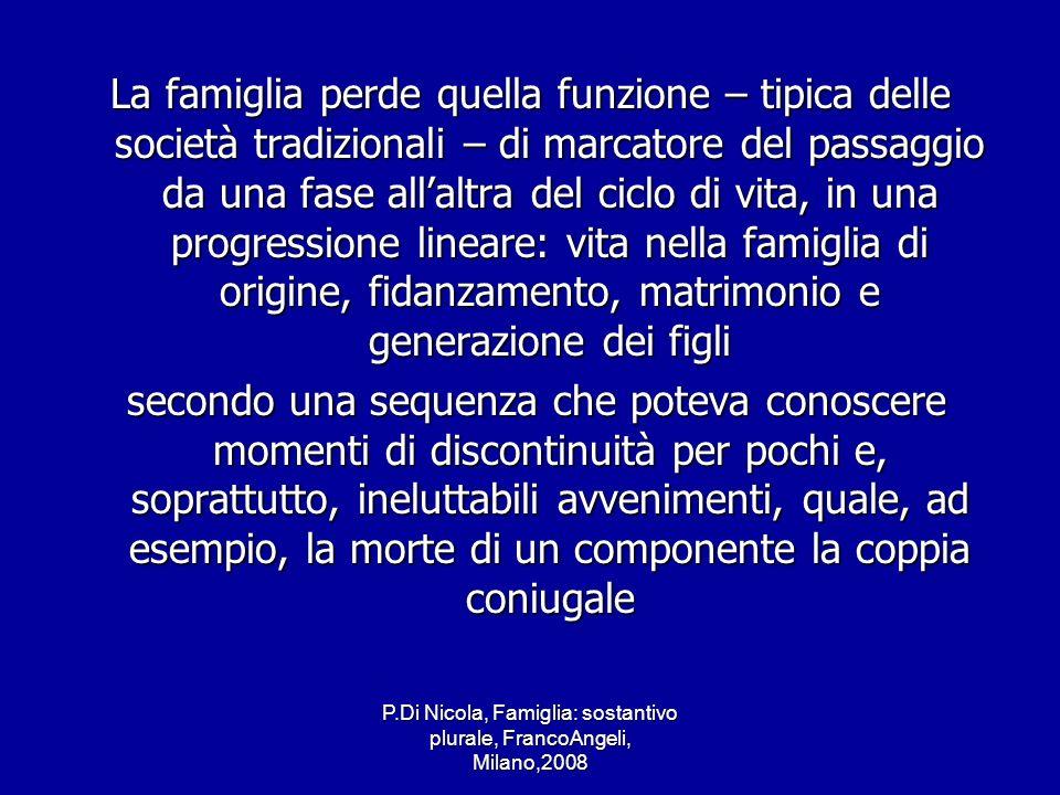 P.Di Nicola, Famiglia: sostantivo plurale, FrancoAngeli, Milano,2008 La famiglia perde quella funzione – tipica delle società tradizionali – di marcat