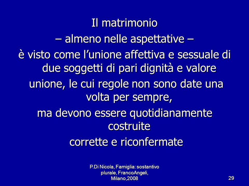 P.Di Nicola, Famiglia: sostantivo plurale, FrancoAngeli, Milano,200829 Il matrimonio – almeno nelle aspettative – è visto come lunione affettiva e ses