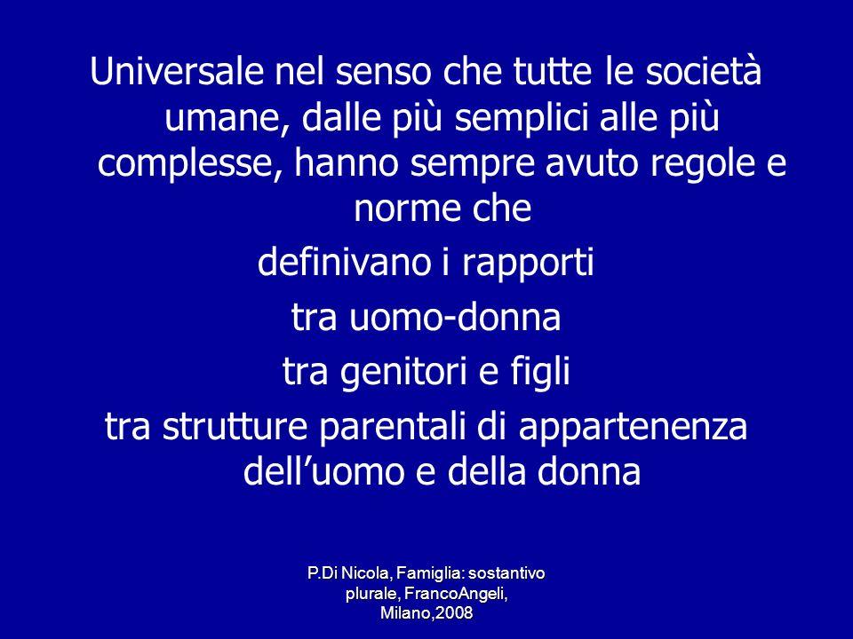 P.Di Nicola, Famiglia: sostantivo plurale, FrancoAngeli, Milano,2008 Universale nel senso che tutte le società umane, dalle più semplici alle più comp