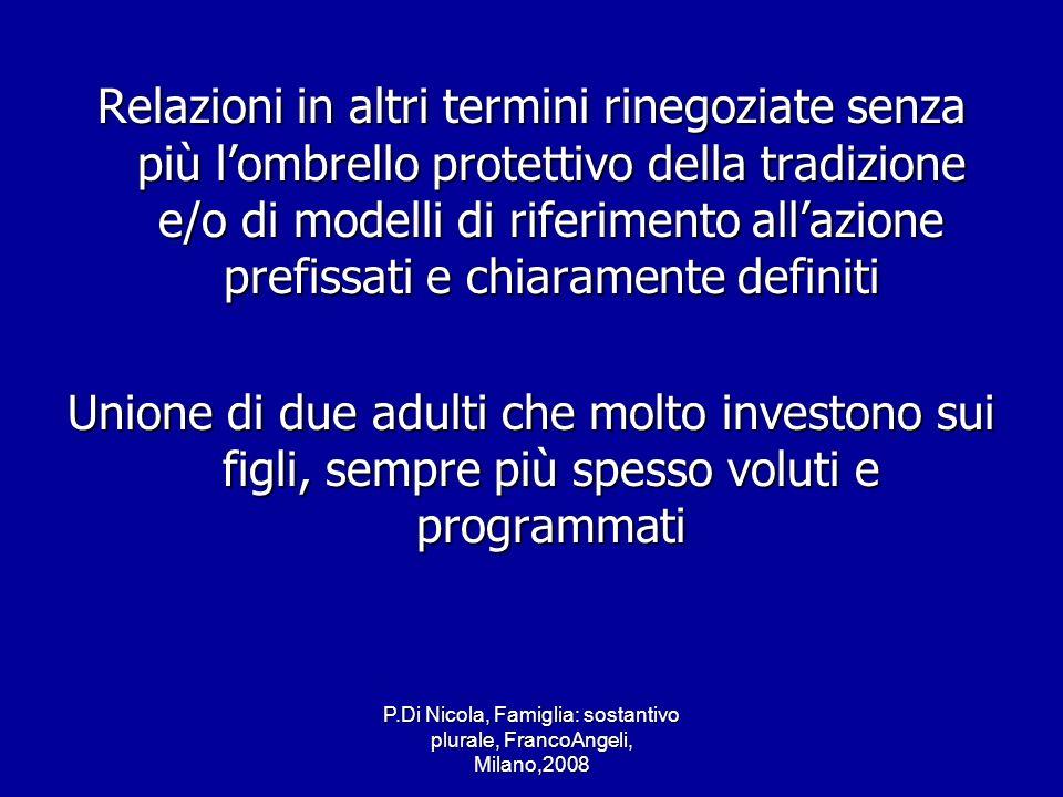 P.Di Nicola, Famiglia: sostantivo plurale, FrancoAngeli, Milano,2008 Relazioni in altri termini rinegoziate senza più lombrello protettivo della tradi
