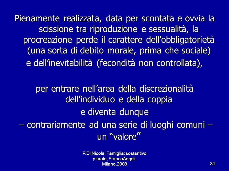P.Di Nicola, Famiglia: sostantivo plurale, FrancoAngeli, Milano,200831 Pienamente realizzata, data per scontata e ovvia la scissione tra riproduzione