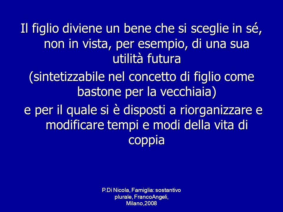 P.Di Nicola, Famiglia: sostantivo plurale, FrancoAngeli, Milano,2008 Il figlio diviene un bene che si sceglie in sé, non in vista, per esempio, di una