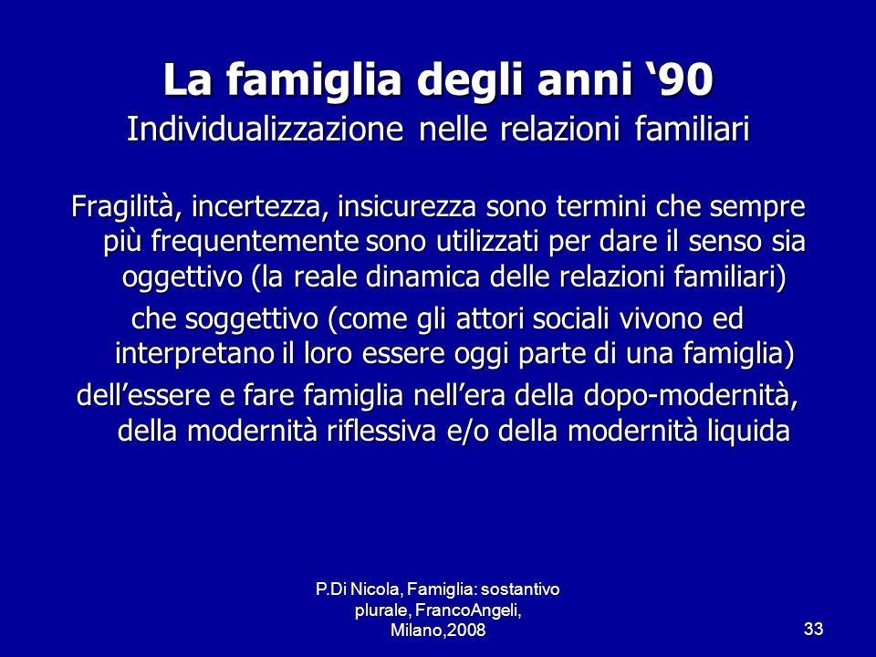 P.Di Nicola, Famiglia: sostantivo plurale, FrancoAngeli, Milano,200833 La famiglia degli anni 90 Individualizzazione nelle relazioni familiari Fragili