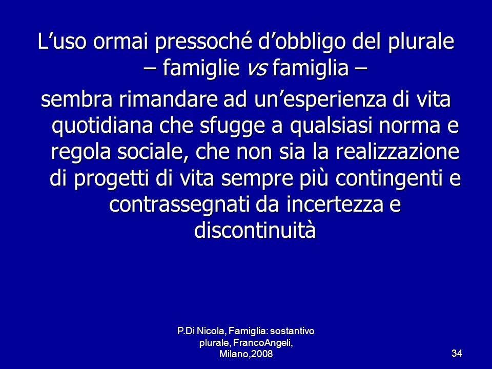 P.Di Nicola, Famiglia: sostantivo plurale, FrancoAngeli, Milano,200834 Luso ormai pressoché dobbligo del plurale – famiglie vs famiglia – sembra riman