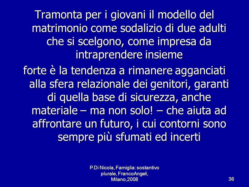 P.Di Nicola, Famiglia: sostantivo plurale, FrancoAngeli, Milano,200836 Tramonta per i giovani il modello del matrimonio come sodalizio di due adulti c