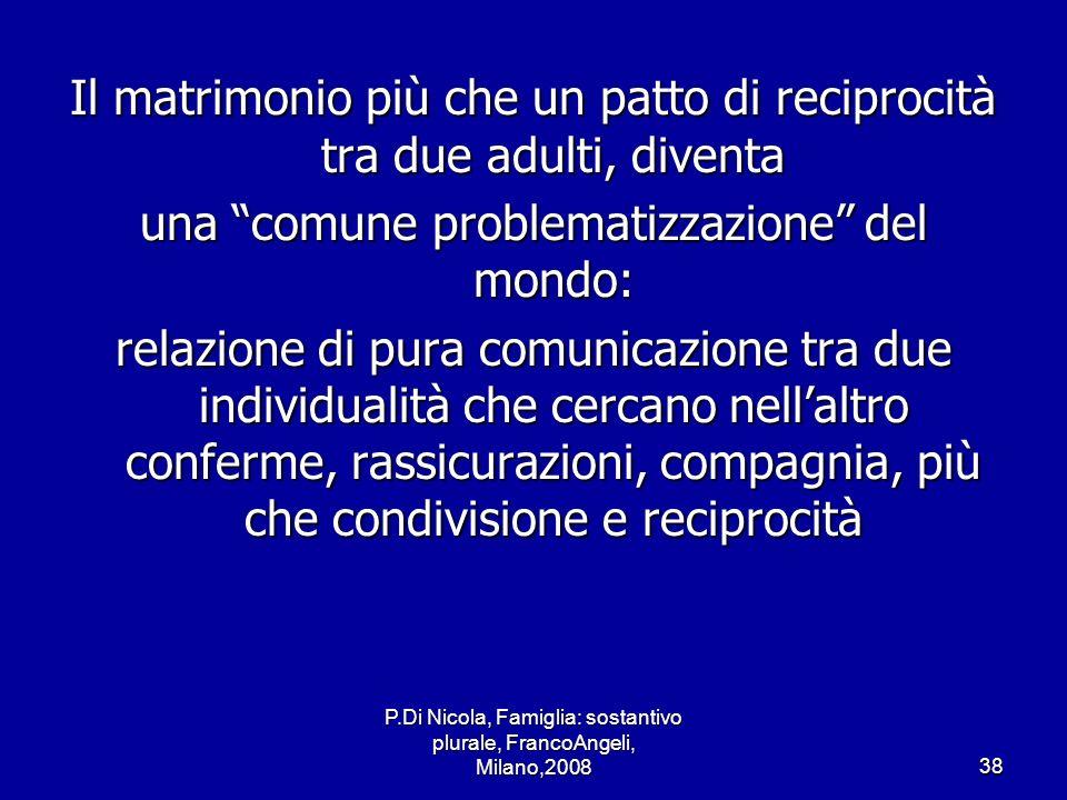 P.Di Nicola, Famiglia: sostantivo plurale, FrancoAngeli, Milano,200838 Il matrimonio più che un patto di reciprocità tra due adulti, diventa una comun