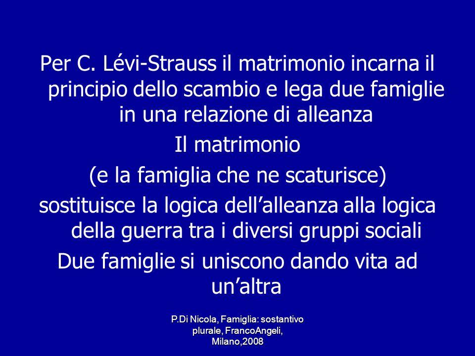 P.Di Nicola, Famiglia: sostantivo plurale, FrancoAngeli, Milano,2008 Per C. Lévi-Strauss il matrimonio incarna il principio dello scambio e lega due f