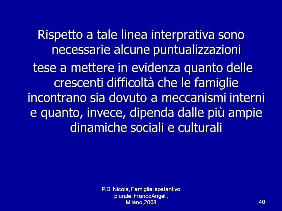 P.Di Nicola, Famiglia: sostantivo plurale, FrancoAngeli, Milano,200840 Rispetto a tale linea interprativa sono necessarie alcune puntualizzazioni tese