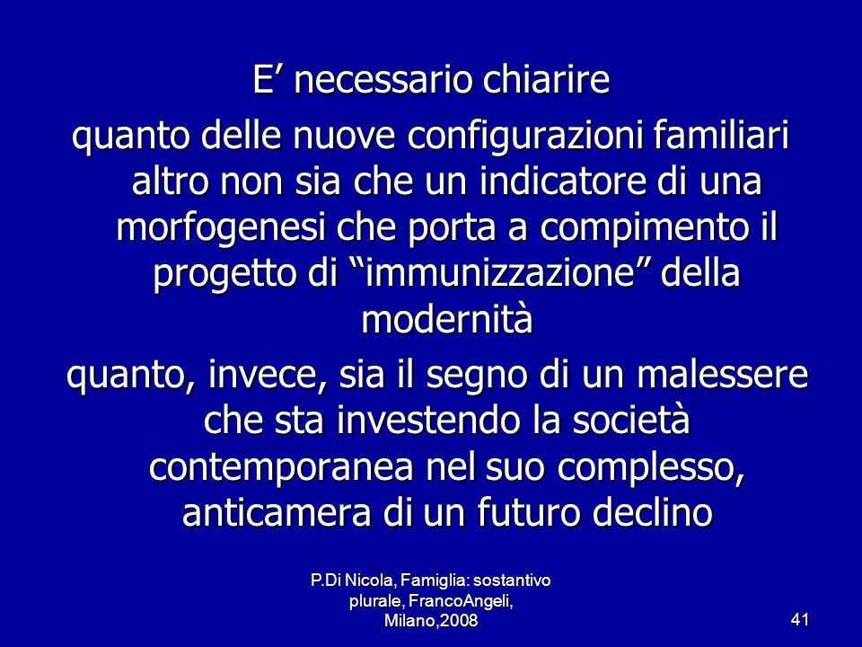 P.Di Nicola, Famiglia: sostantivo plurale, FrancoAngeli, Milano,200841 E necessario chiarire quanto delle nuove configurazioni familiari altro non sia