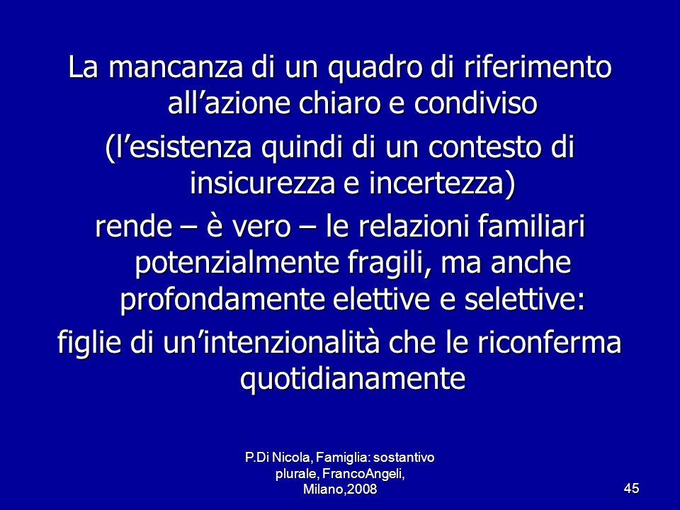 P.Di Nicola, Famiglia: sostantivo plurale, FrancoAngeli, Milano,200845 La mancanza di un quadro di riferimento allazione chiaro e condiviso (lesistenz