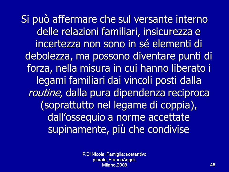 P.Di Nicola, Famiglia: sostantivo plurale, FrancoAngeli, Milano,200846 Si può affermare che sul versante interno delle relazioni familiari, insicurezz