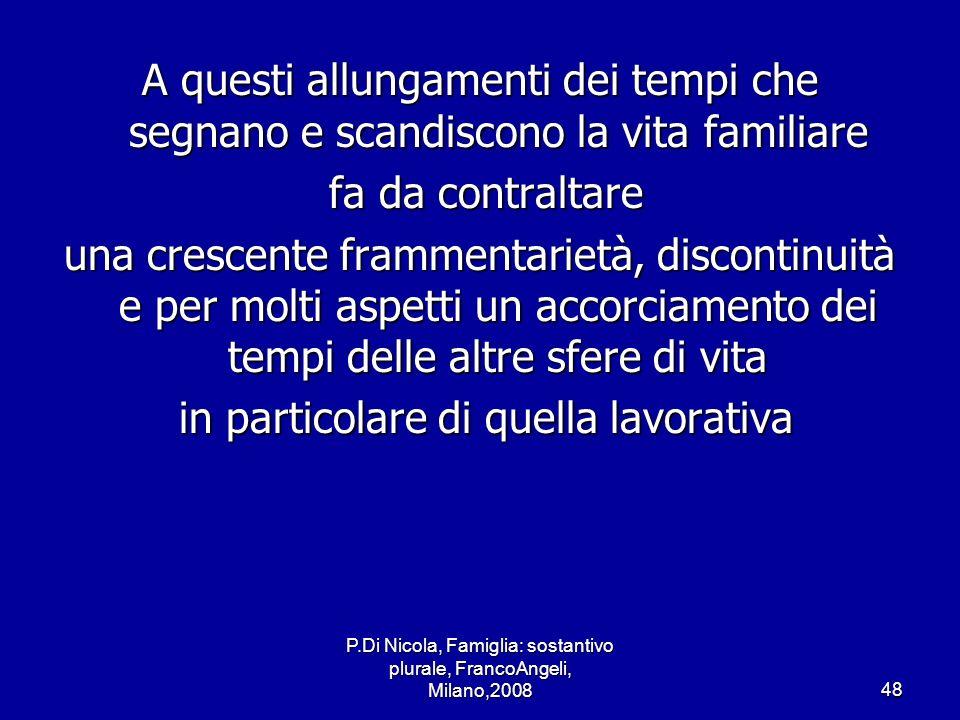 P.Di Nicola, Famiglia: sostantivo plurale, FrancoAngeli, Milano,200848 A questi allungamenti dei tempi che segnano e scandiscono la vita familiare fa