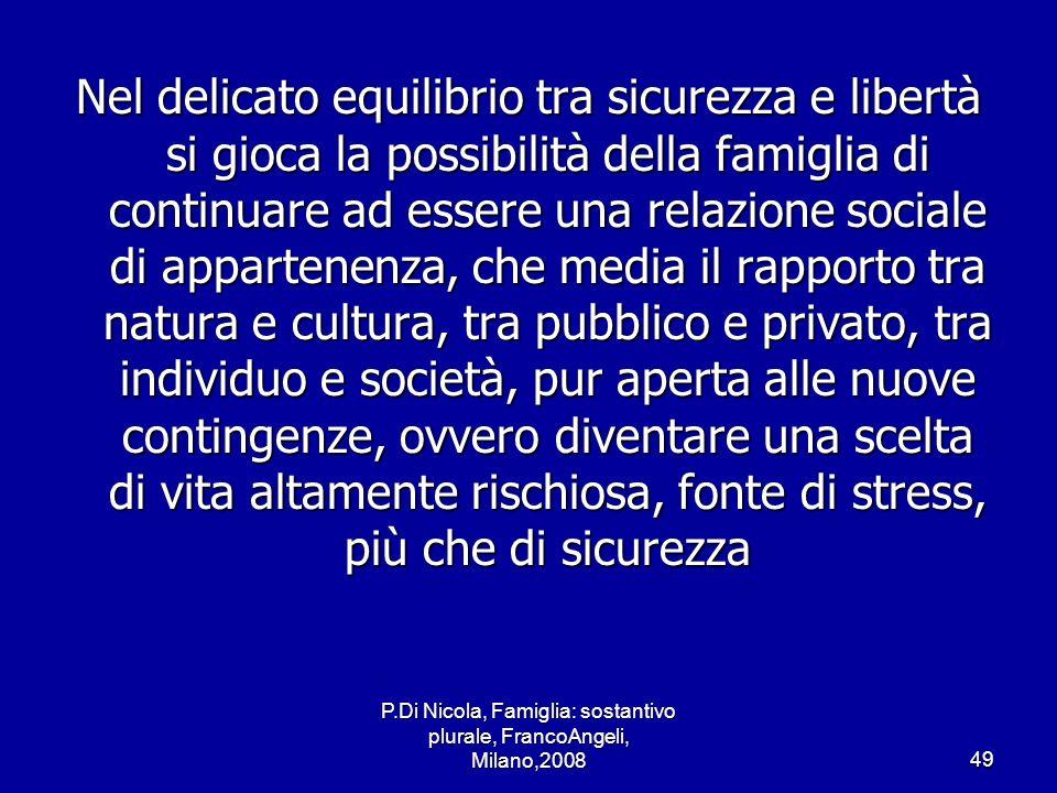P.Di Nicola, Famiglia: sostantivo plurale, FrancoAngeli, Milano,200849 Nel delicato equilibrio tra sicurezza e libertà si gioca la possibilità della f