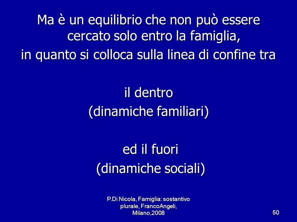 P.Di Nicola, Famiglia: sostantivo plurale, FrancoAngeli, Milano,200850 Ma è un equilibrio che non può essere cercato solo entro la famiglia, in quanto
