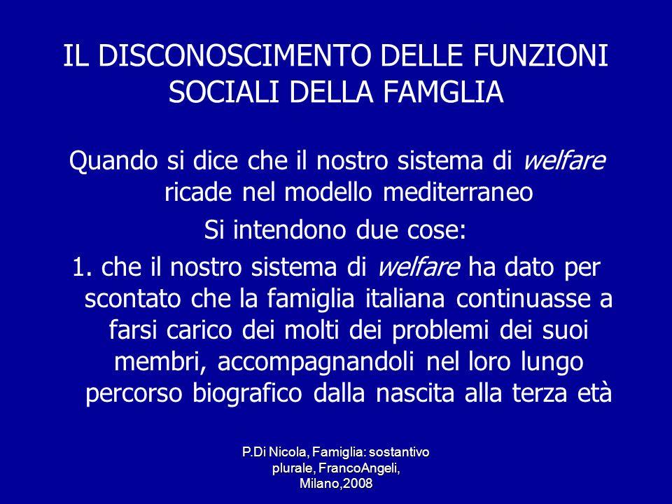 P.Di Nicola, Famiglia: sostantivo plurale, FrancoAngeli, Milano,2008 IL DISCONOSCIMENTO DELLE FUNZIONI SOCIALI DELLA FAMGLIA Quando si dice che il nos