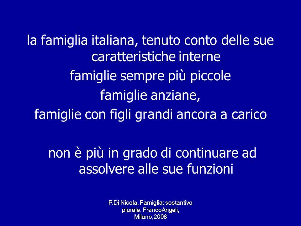 P.Di Nicola, Famiglia: sostantivo plurale, FrancoAngeli, Milano,2008 la famiglia italiana, tenuto conto delle sue caratteristiche interne famiglie sem