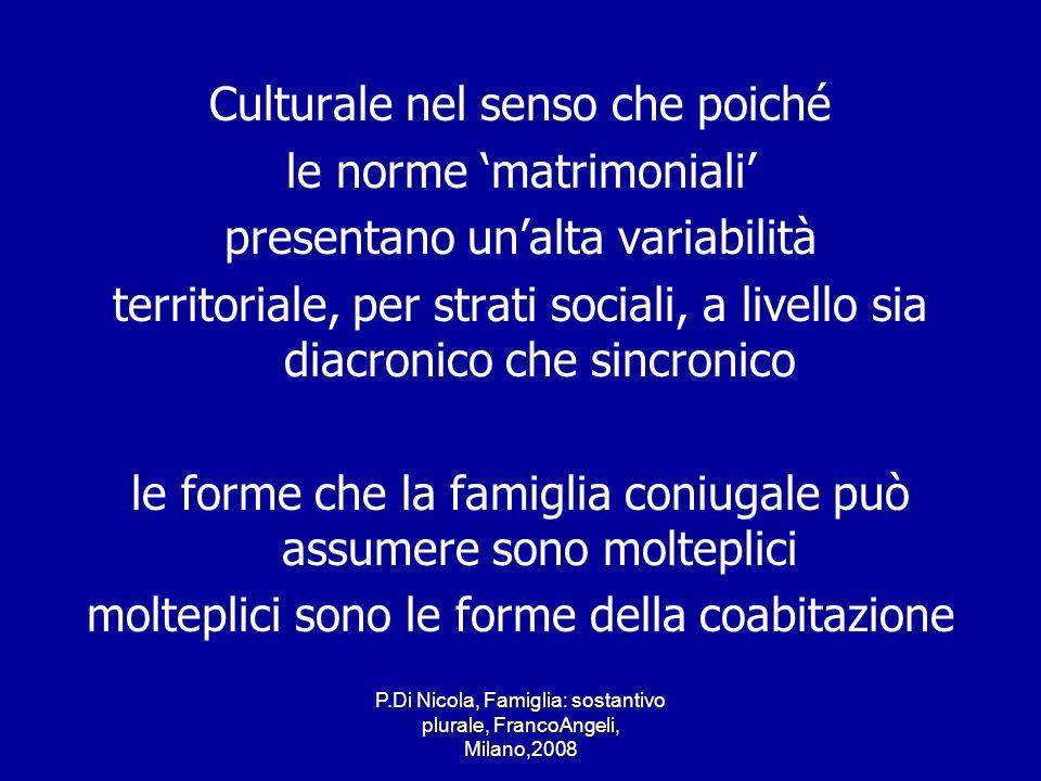 P.Di Nicola, Famiglia: sostantivo plurale, FrancoAngeli, Milano,2008 Culturale nel senso che poiché le norme matrimoniali presentano unalta variabilit