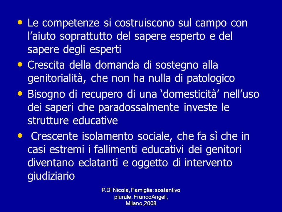 P.Di Nicola, Famiglia: sostantivo plurale, FrancoAngeli, Milano,2008 Le competenze si costruiscono sul campo con laiuto soprattutto del sapere esperto