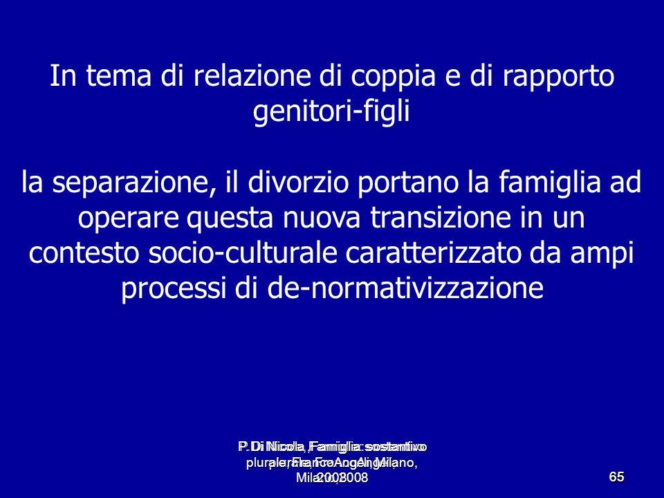 P.Di Nicola, Famiglia: sostantivo plurale, FrancoAngeli, Milano,2008 6565 In tema di relazione di coppia e di rapporto genitori-figli la separazione,