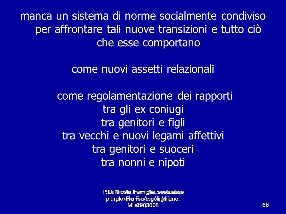 P.Di Nicola, Famiglia: sostantivo plurale, FrancoAngeli, Milano,2008 66 manca un sistema di norme socialmente condiviso per affrontare tali nuove tran
