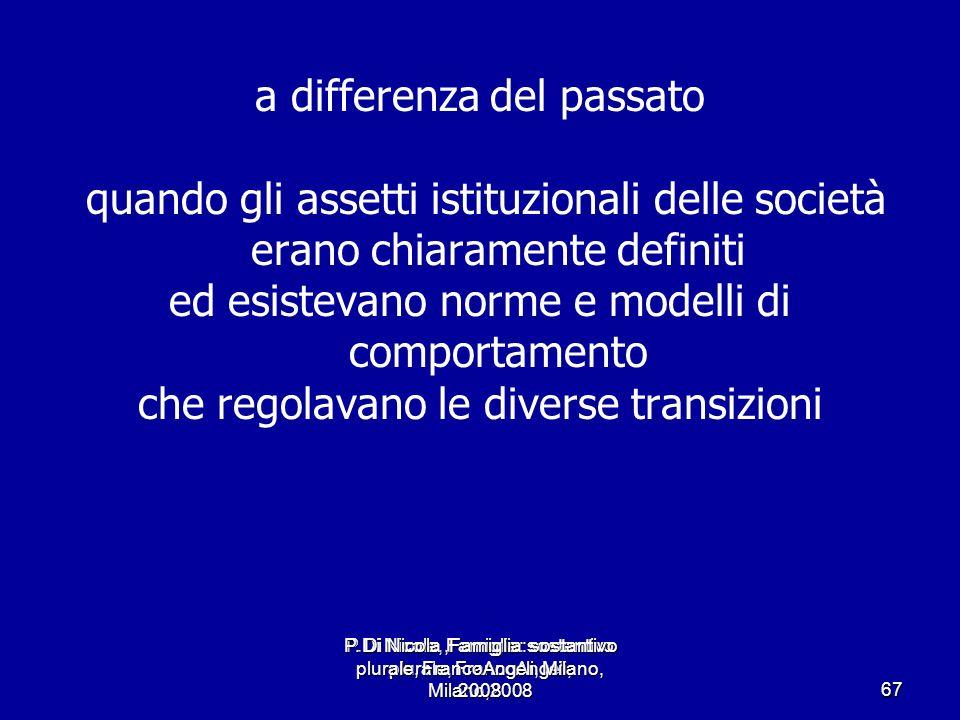P.Di Nicola, Famiglia: sostantivo plurale, FrancoAngeli, Milano,2008 67 a differenza del passato quando gli assetti istituzionali delle società erano