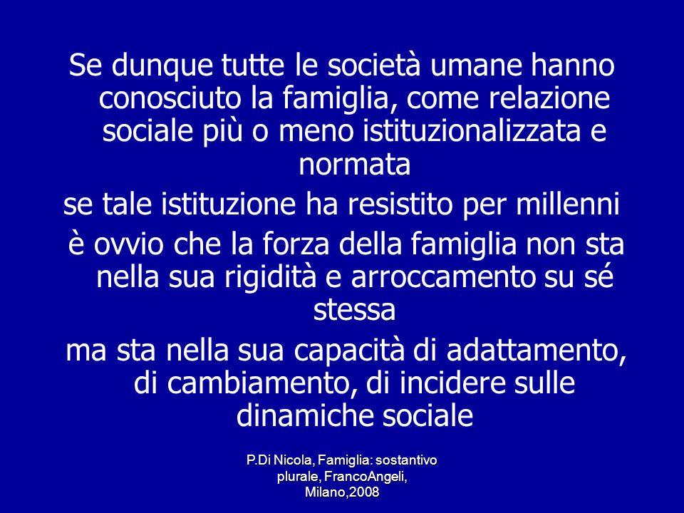 P.Di Nicola, Famiglia: sostantivo plurale, FrancoAngeli, Milano,2008 La forza della famiglia sta nella sua capacità morfogenetica nel suo essere un sostantivo plurale