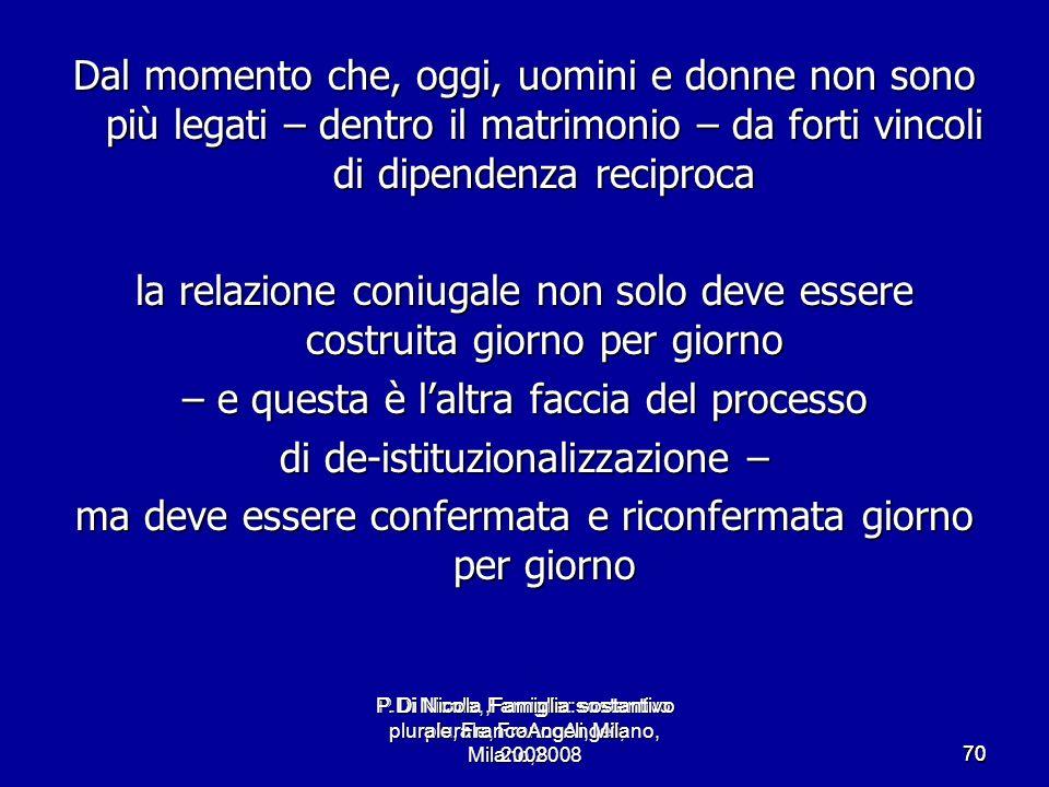 P.Di Nicola, Famiglia: sostantivo plurale, FrancoAngeli, Milano,2008 7070 Dal momento che, oggi, uomini e donne non sono più legati – dentro il matrim