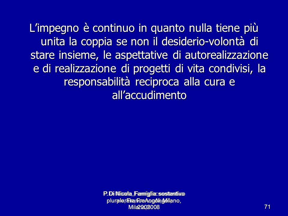 P.Di Nicola, Famiglia: sostantivo plurale, FrancoAngeli, Milano,2008 71 Limpegno è continuo in quanto nulla tiene più unita la coppia se non il deside
